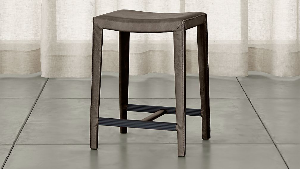 Folio Granite Grey Top Grain Leather Backless Counter Stool Reviews Crate And Barrel In 2020 Counter Stools Backless Leather Counter Stools Backless Bar Stools