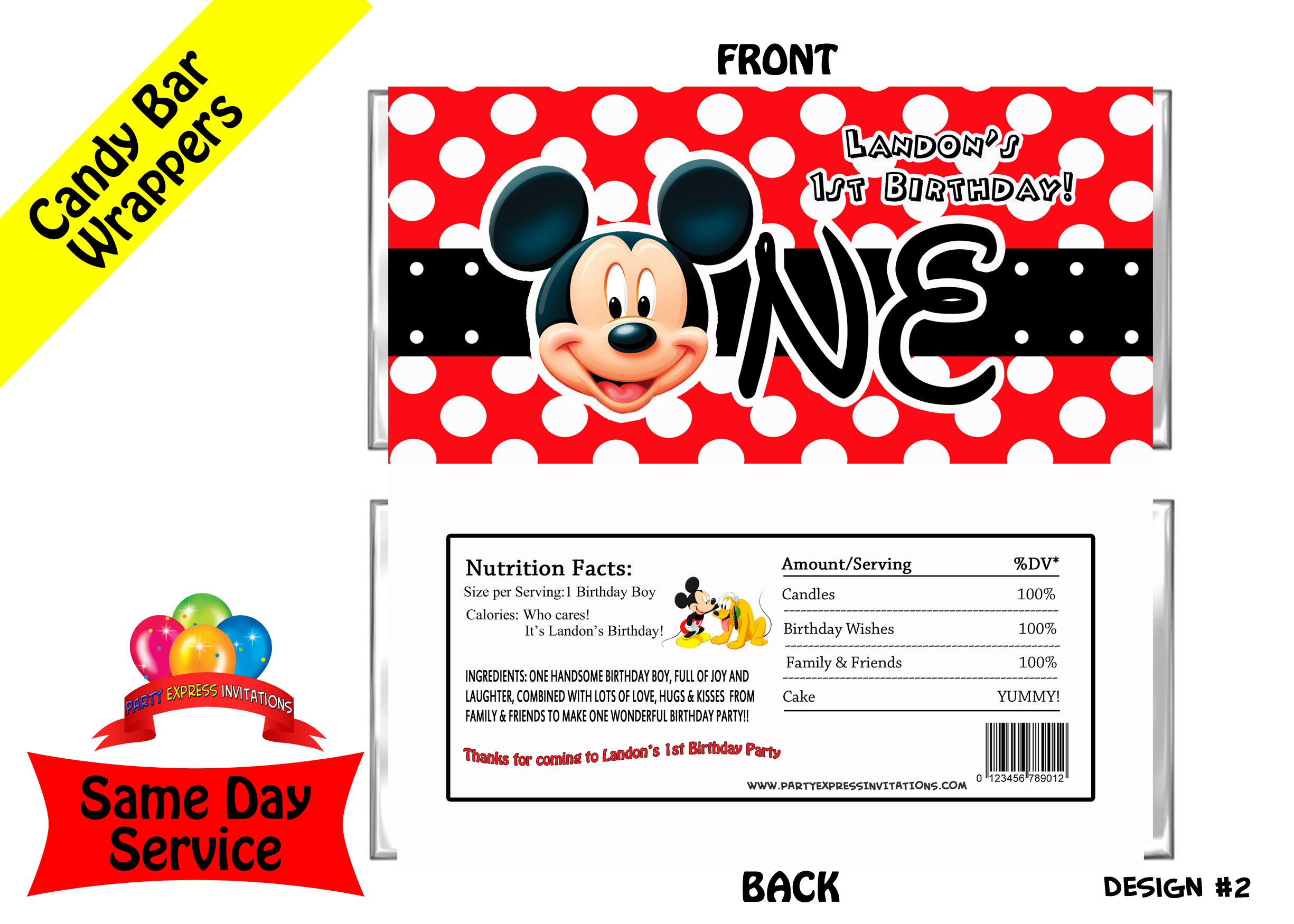 mickey mouse clubhouse candy bar wrappers 3