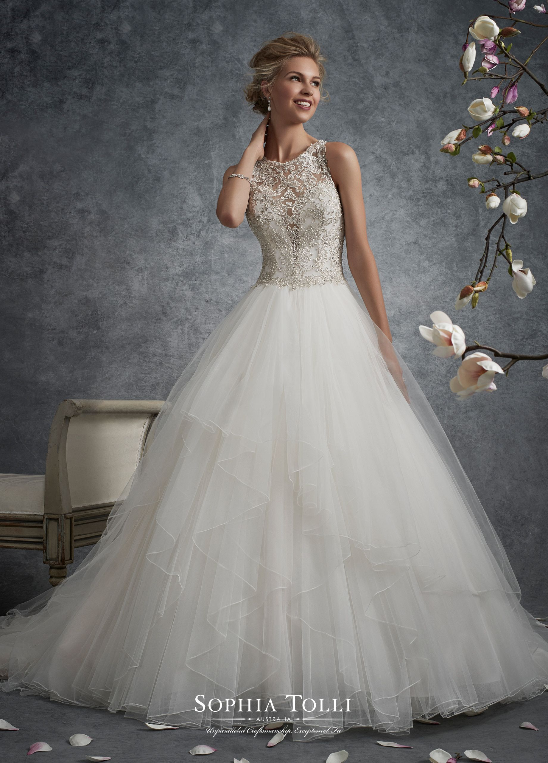 Sleeveless Misty Tulle And Lace Motif Ball Gown Y21745 Aquila Wedding Gown Gallery Wedding Dresses Bridal Dresses Online