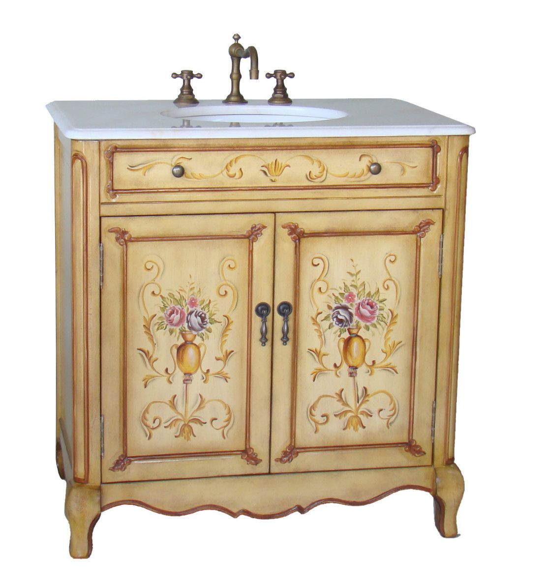 33 bathroom vanity - Adelina 33 Inch Antique Hand Painted Bathroom Vanity