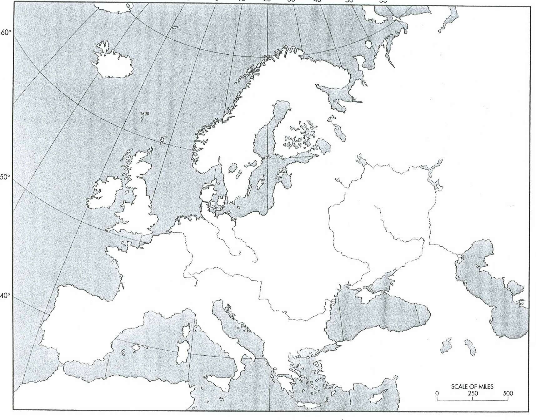 Blank Physical Map Of Europe