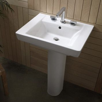Boulevard Vitreous China Rectangular Pedestal Bathroom Sink With