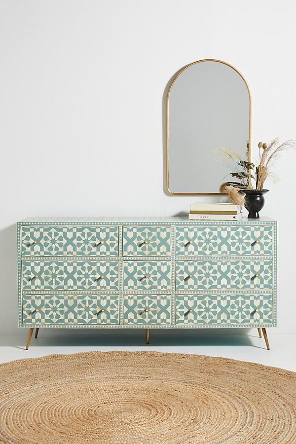 Moroccan Inlay Nine-Drawer Dresser