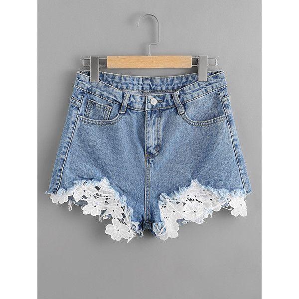 Contrast Crochet Frayed Hem Denim Shorts (40 BRL) ❤ liked on ...