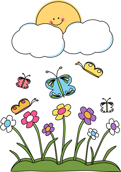 Spring cartoon. Clip art borders sun