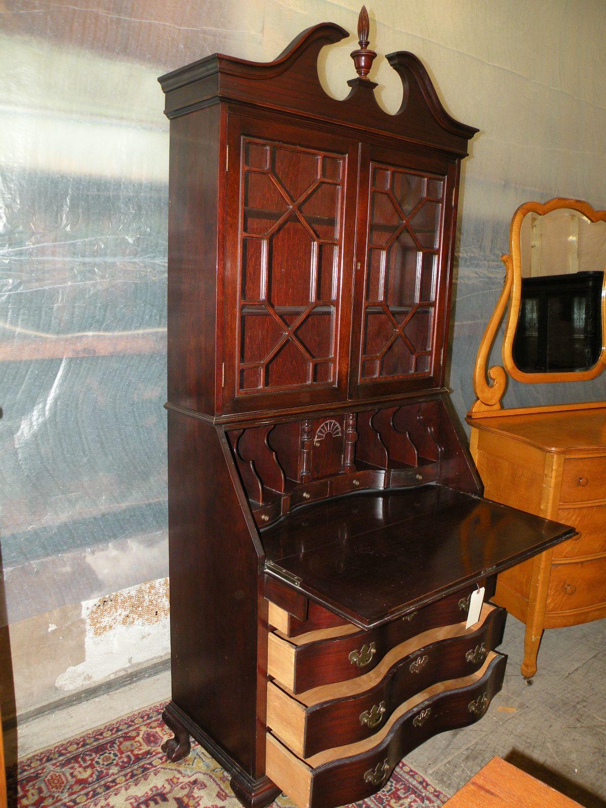 Maddox mahogany drop front desk secretary bookcase - Maddox Mahogany Drop Front Desk Secretary Bookcase Front Desk