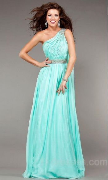 One-Shoulder Chiffon Natural Long Sleeveless Prom Dresses ykdress6291