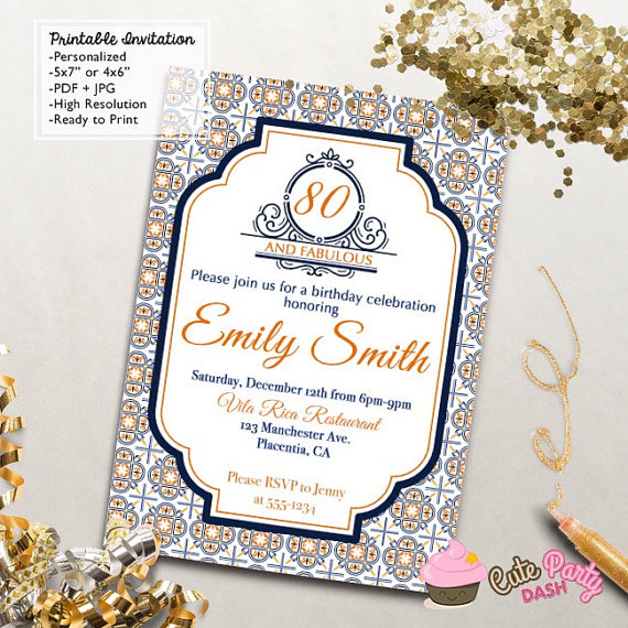 Spanish Tiles Birthday Party invitations DIY 80th by CutePartyDash – Spanish Party Invitations