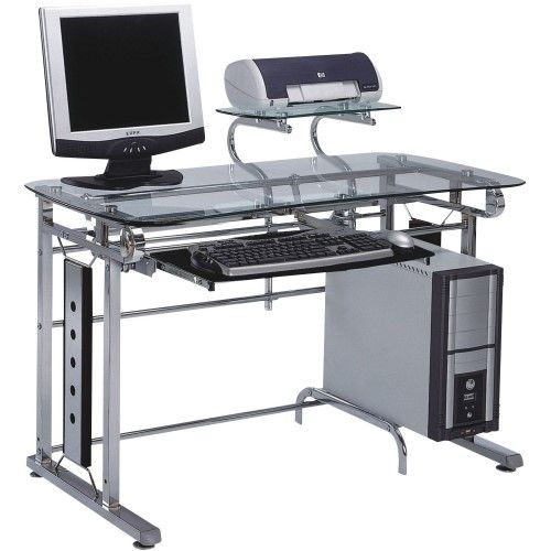 Felix Chrome Computer Desk Multi Metal Computer Desk