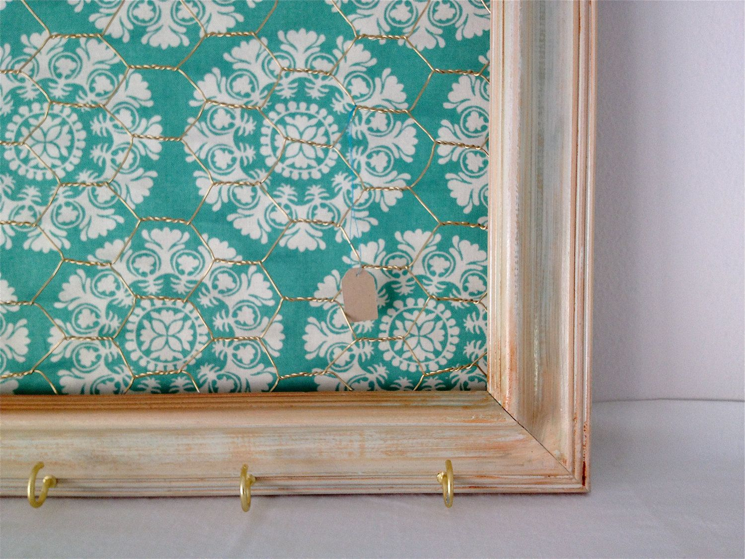 teal tan coral fabric | Distressed off white Chicken Wire Frame with ...