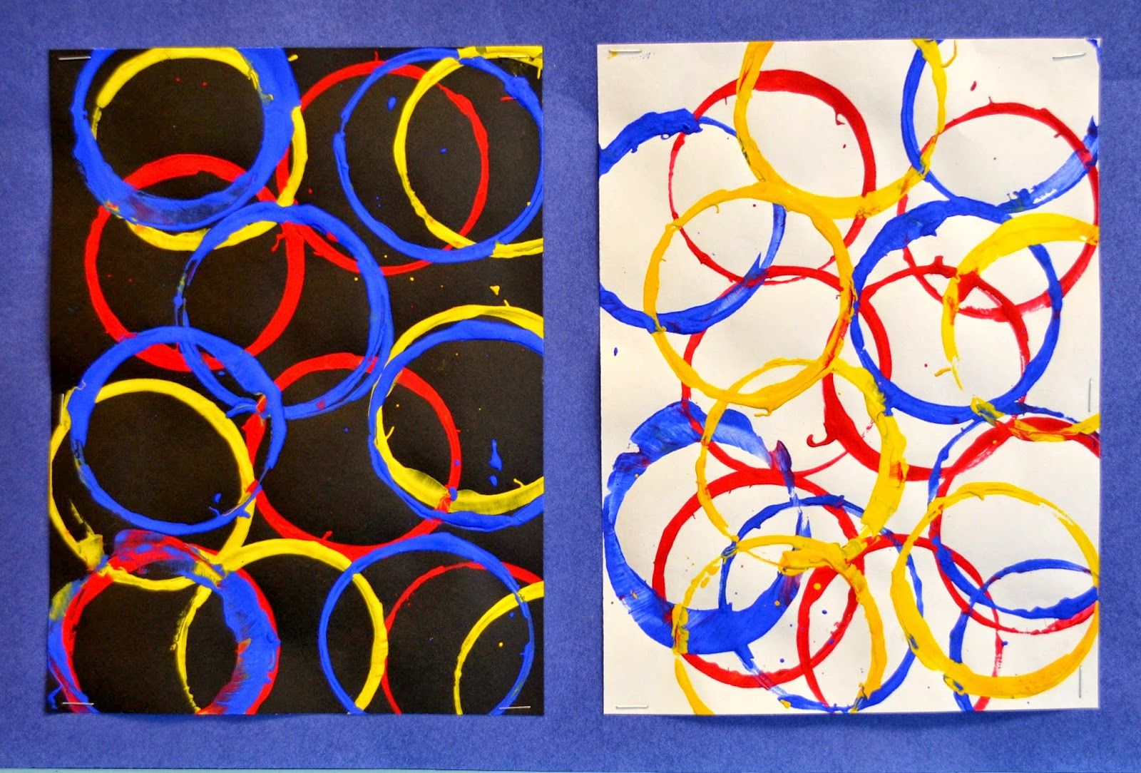 Kindergarten Primary Color Cup Prints