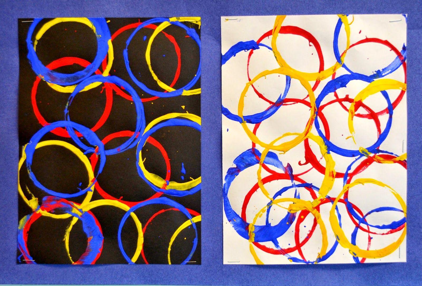 Kindergarten Primary Color Cup Prints