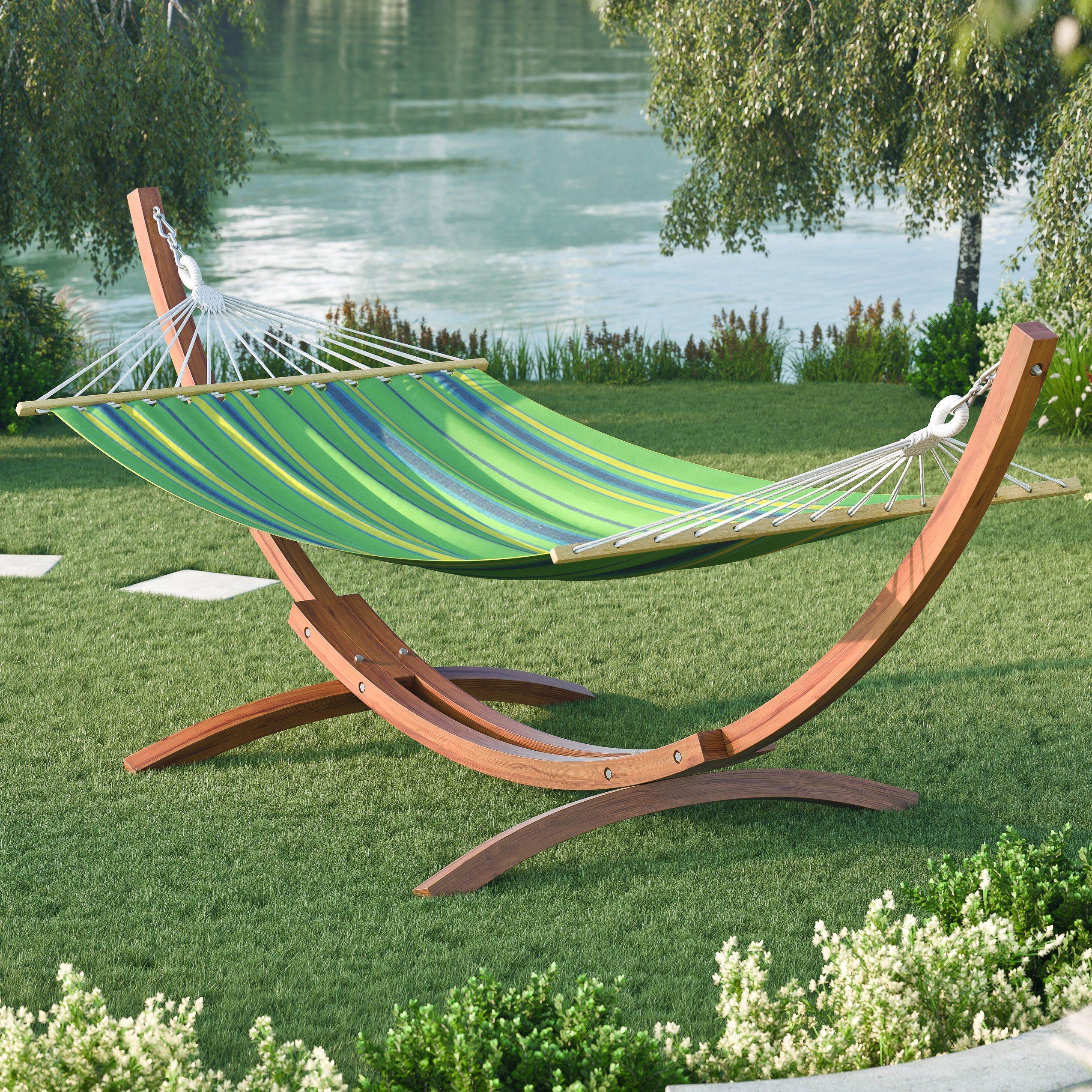 swing chair over canyon outdoor christmas covers corliving wood freestanding canvas hammock green cotton pwc 3x4 h patio furniture