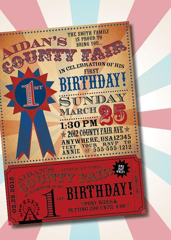 DIY Printable Vintage County Fair Customizable Birthday Party – Diy Birthday Party Invitations