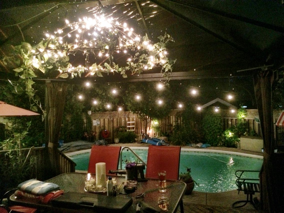 Edison bulb string lights over pool and mini light chandelier in edison bulb string lights over pool and mini light chandelier in gazebo add warmth and sparkle aloadofball Choice Image