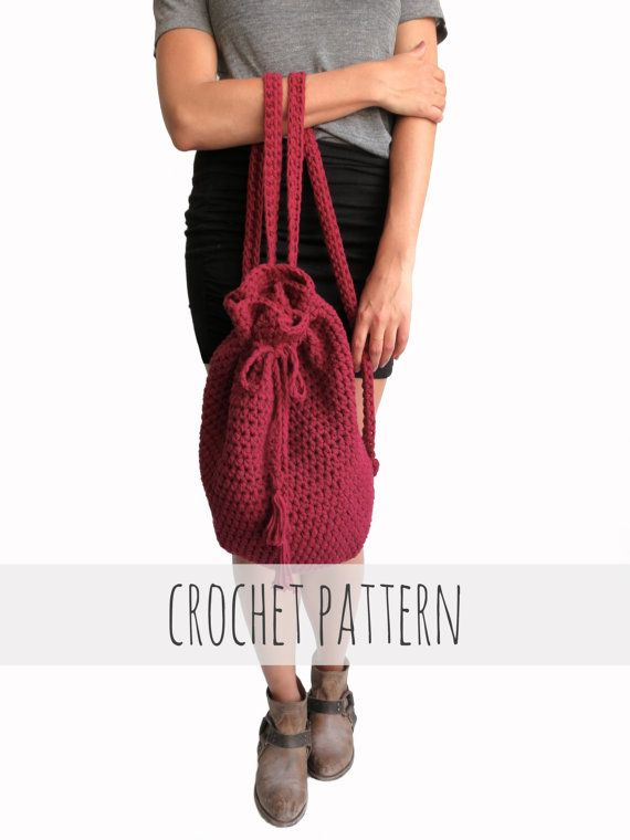 Pattern For Crochet Backpack Drawstring Mini Hipster Boho Purse