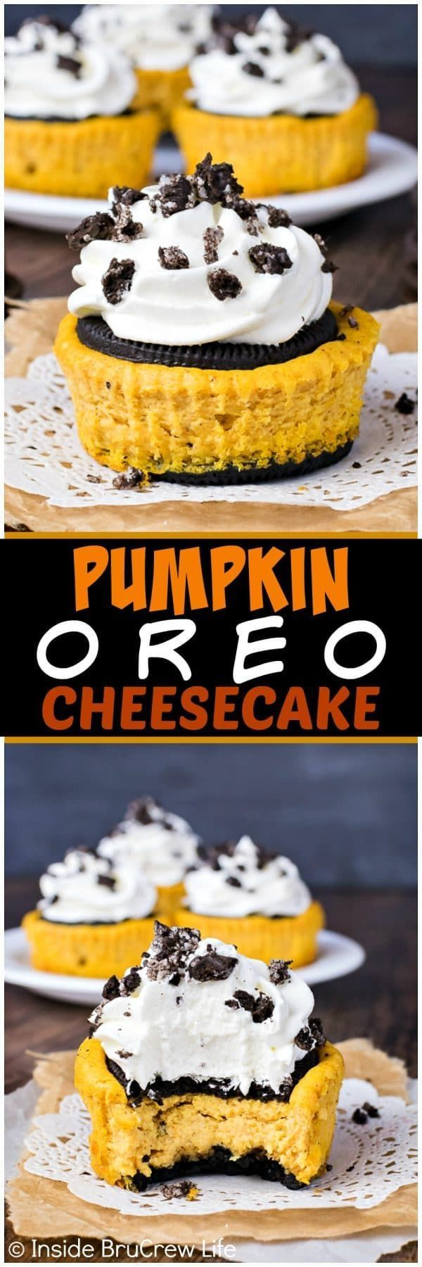 Oreo Cheesecake - creamy pumpkin cheesecake sandwiched between an Oreo cookie. This is the best fall dessert recipe!