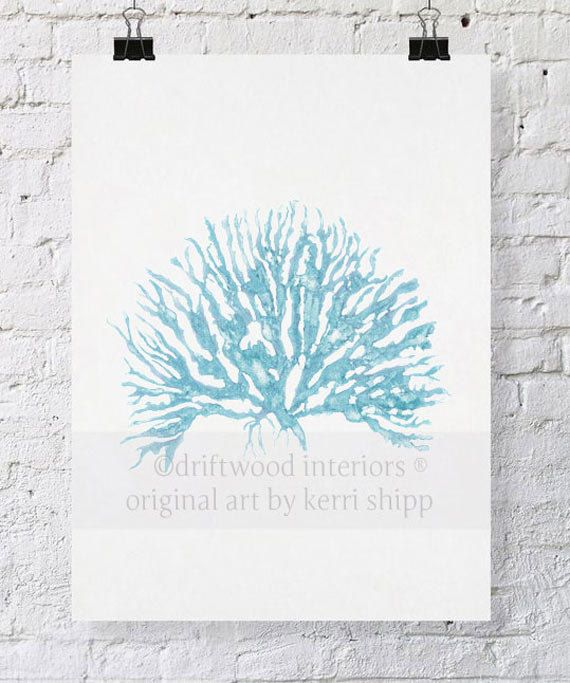 Sea+Coral+IV+in+French+Blue+11x14+Print+by+driftwoodinteriors,+$37.50