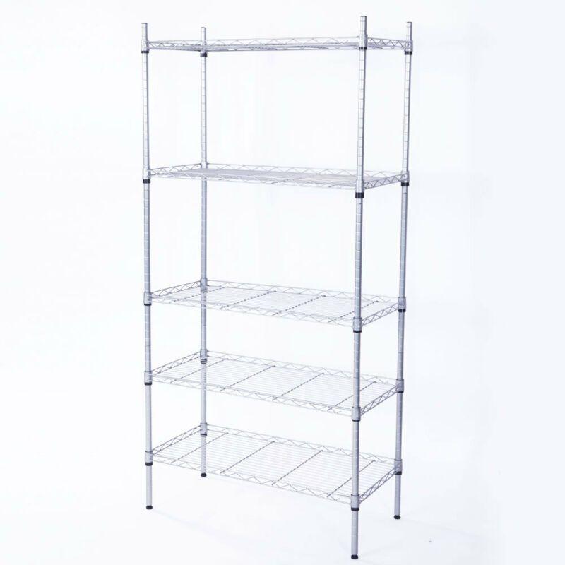 4//5 Tier Storage Rack Organizer Kitchen Shelving Steel Wire Shelves Black//Chrome