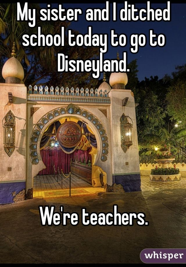 My sister and I ditched school today to go to Disneyland.      We're teachers.