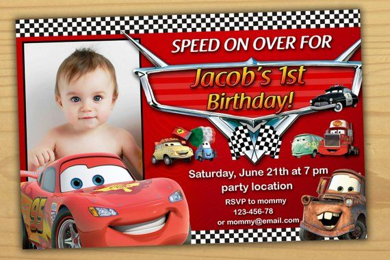SALE Disney Cars Birthday Invitation