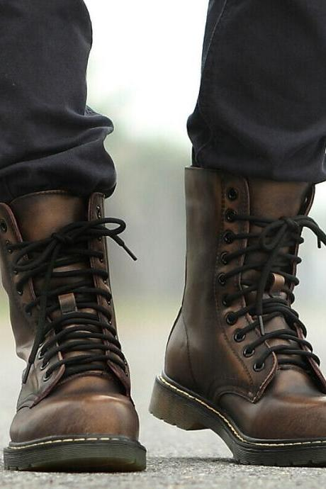Ankle Lace Up Boot Brown Rounded Derby