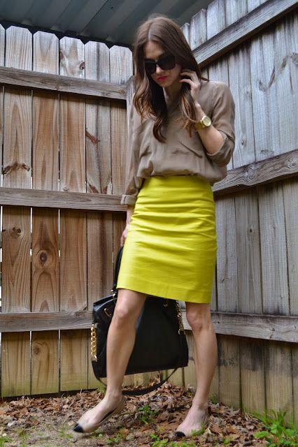 bcbg blouse + j crew skirt + ann taylor cap toe flats