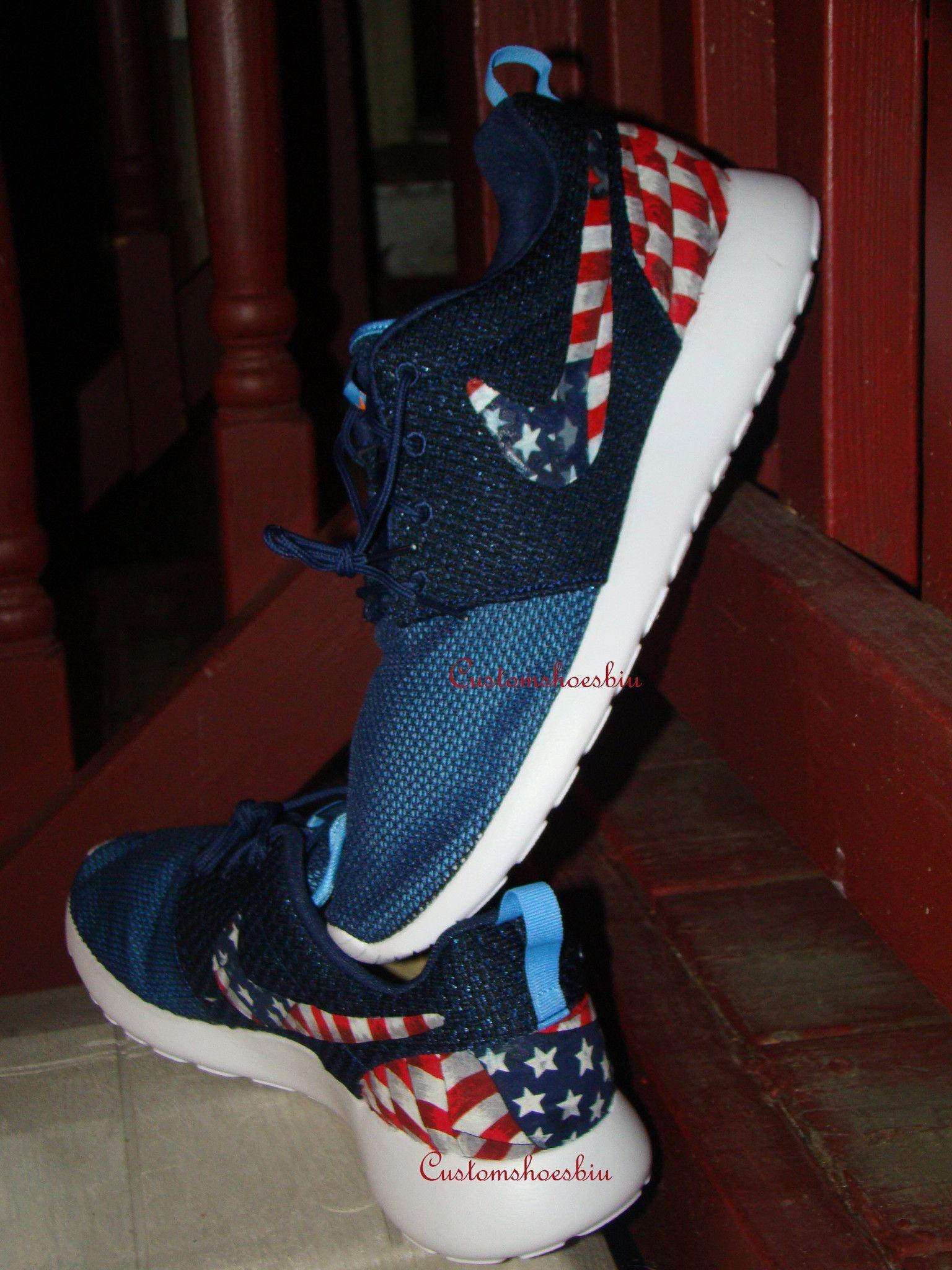 f5a76b38f91d Custom Nike Roshe Run- Navy Nike Roshe Runs - American Flag Print - Women   Men