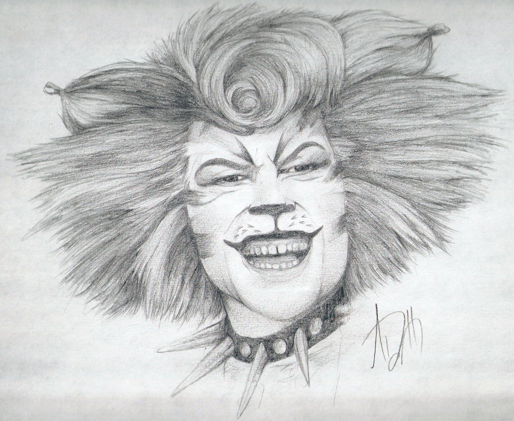 A drawing of John Partridge as the Rum Tum Tugger cat