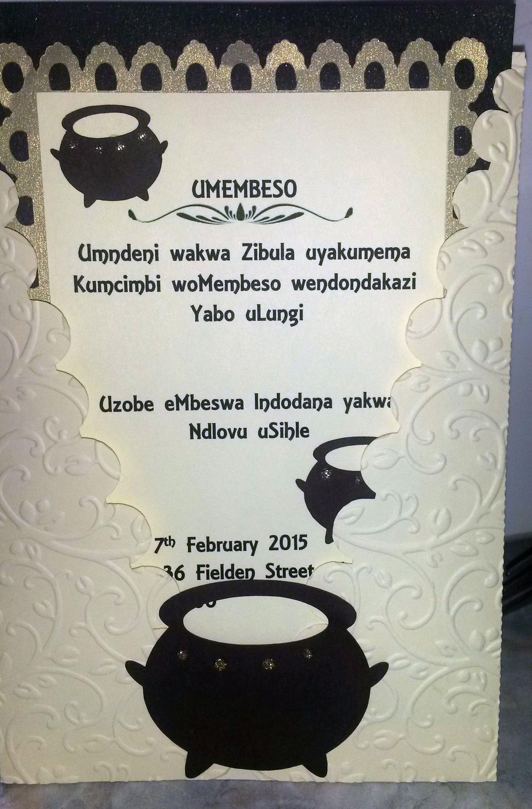 Xhosa Traditional Wedding Invitation Wording