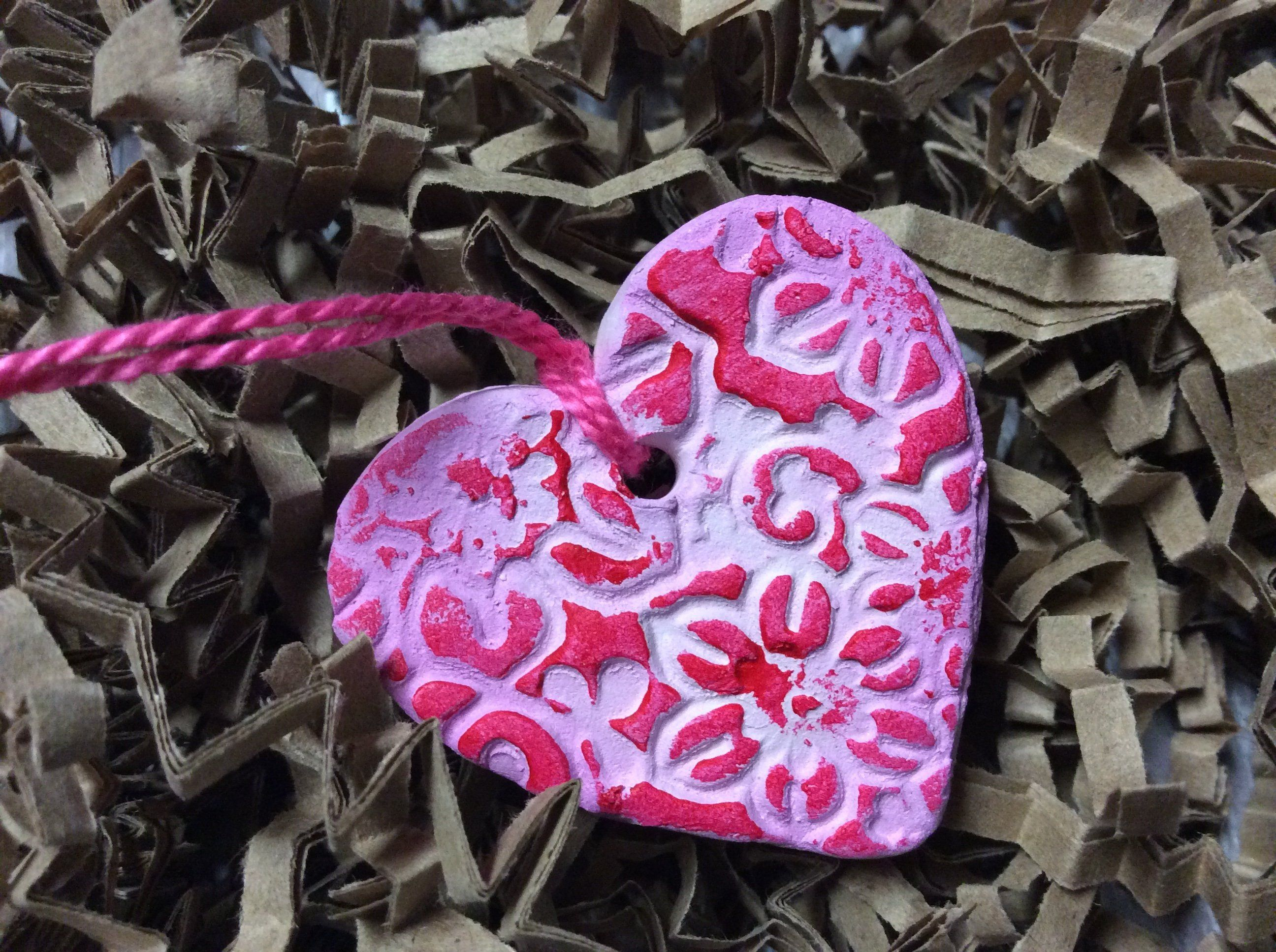 Pink Handmade Ceramic Clay Heart Ornament Hand Painted Heart Hanging Decoration Clay Heart Package Tags Hostess Gift Bridal Party Hand Painted Ornaments Heart Ornament Handmade