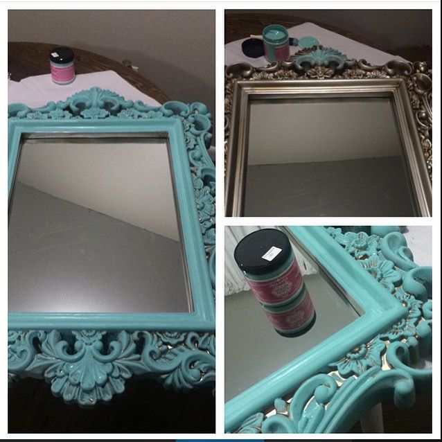 """Believe me turquoise mirrors are hard to find... Especially on the cheap.. So what I did here was took a brand new 30 dollar baroque style mirror from Burlington Coat Factory (crazy I know!) and painted it with the Shabby Paints chalk paint in the color """"so serene"""" which I am loving! Turquoise is one of my favorite colors to work with right now! This mirror now adds the perfect pop of color to my bathroom  #chic #baroque #mirror #CasaChic #ShabbyPaints #soserene #chalkpaint #JessiLing"""