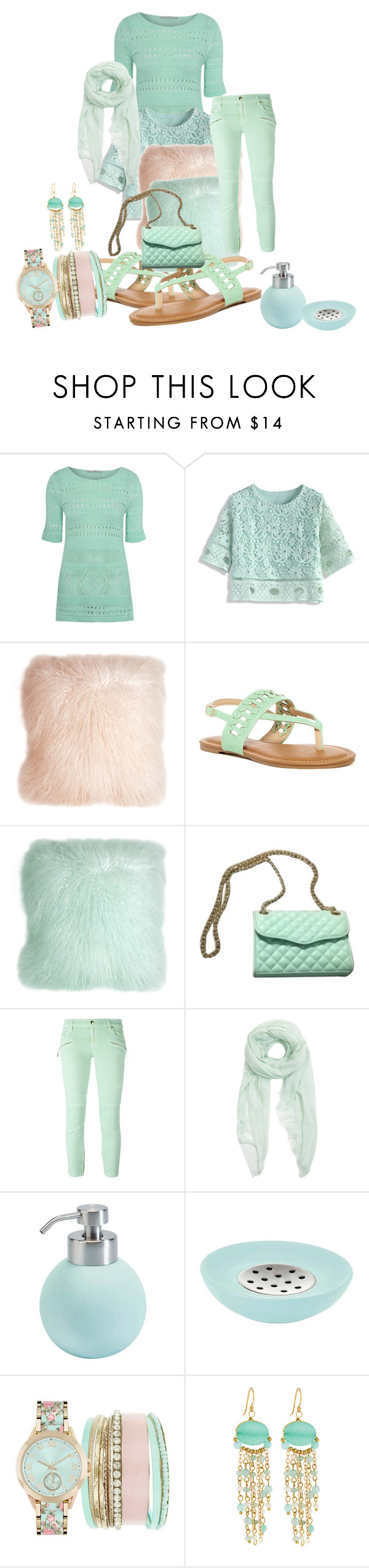"""mint bags and shoes"" by polyyvor ❤ liked on Polyvore featuring George, Chicwish, Pillow Decor, Rebecca Minkoff, Just Cavalli, Furla, Aquanova, Jessica Carlyle and Panacea"