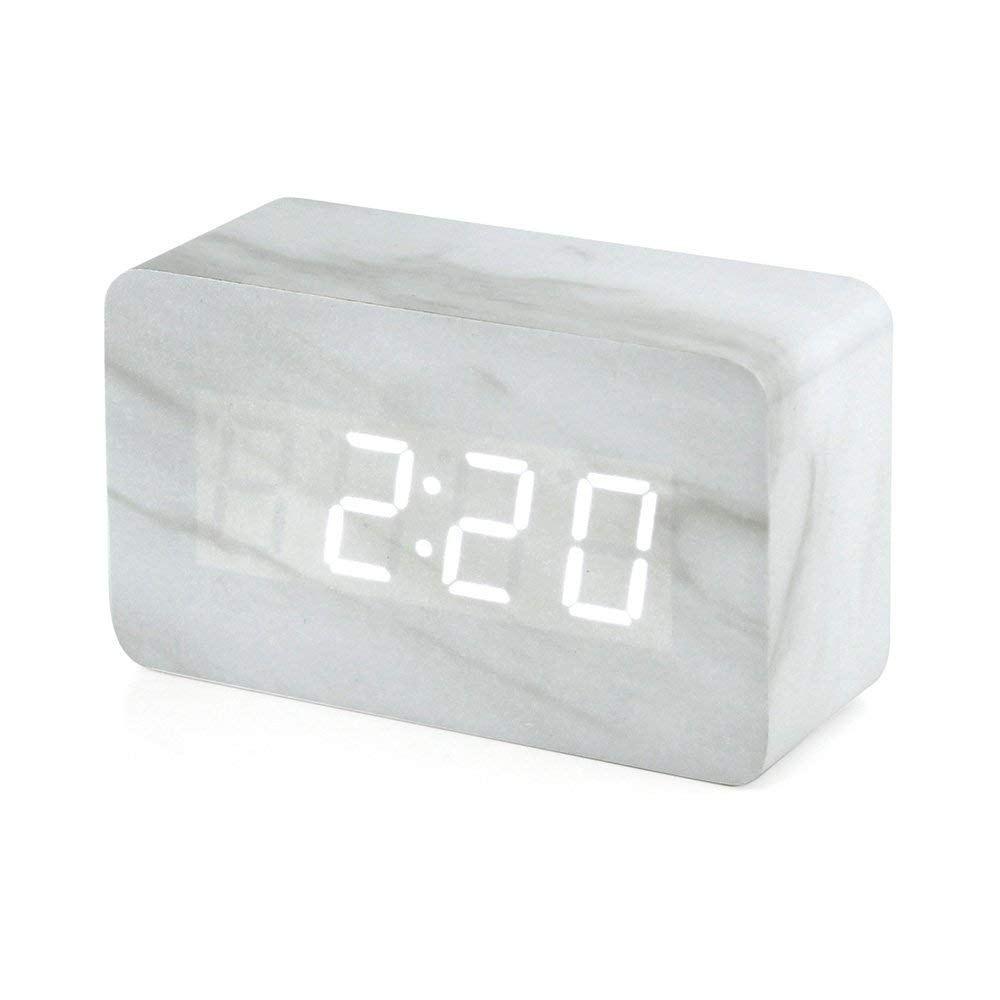 White Marble Digital Desk Clock Alarm Clock Clock Led Alarm Clock