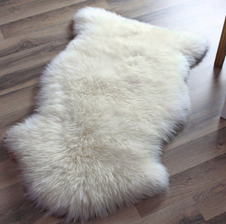 Com Genuine Australian Sheepskin Rug One Pelt Ivory White Natural Fur