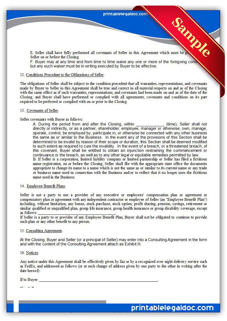 Free Printable Asset Purchase Agreement Sample Printable Legal