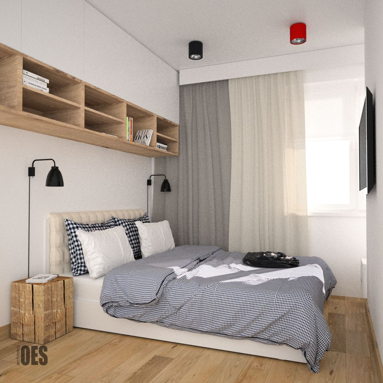 D Interiors Mała Sypialnia: #małasypialnia Nowoczesna Sypialnia, Biel, Drewno W