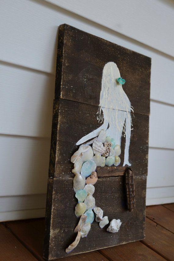 Items similar to rustic wooden mermaid sign - blue - on Etsy