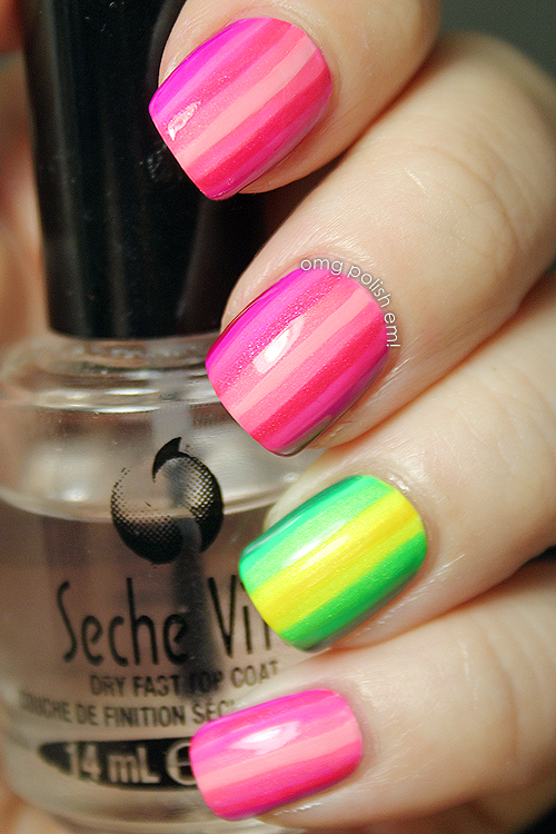 Tone on tone pink stripes with green & yellow stripes accent nail ...