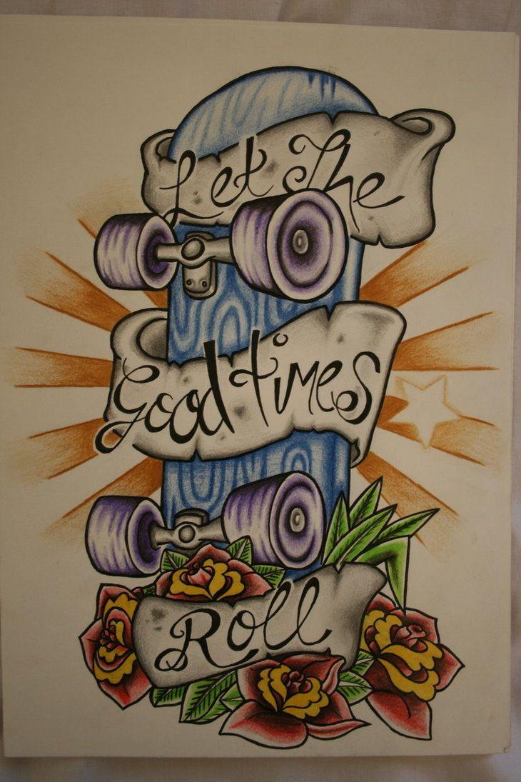 Desenho Feito Para Uma Tatuagem De Skate Desenhada Com Caneta E Lápis De  Cor Em Uma Folha Dica Do Retirada Do Site Deviantart Com Altos Desenhos.