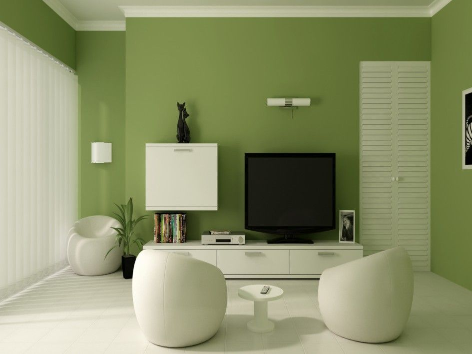 Living Room Green Accent Wall White Ceramic Tile Flooring Modern Pouffes Shelf Under Tv
