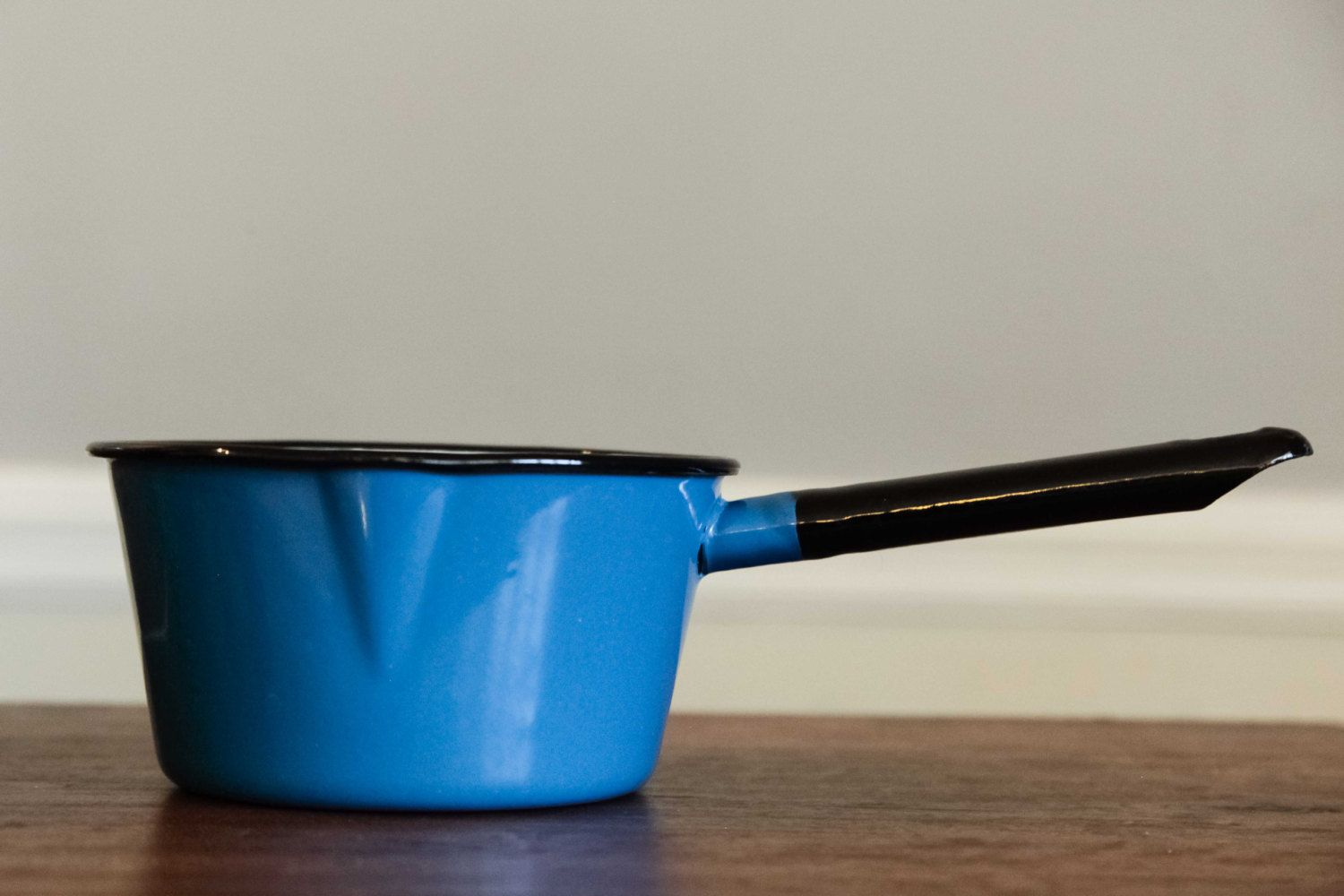 Blue Enamel Pot | Small | Hot Chocolate Pot | Vintage Pot with Spout | Cookware | Saucepan | by SecondsByJaneElaine on Etsy