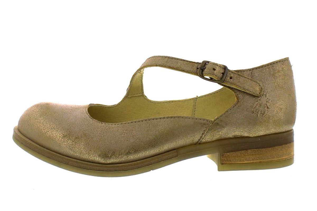 df7861360f Fly London Alky Cool Luna Beige Metallic Asymmetric Strap Low Heel Shoes