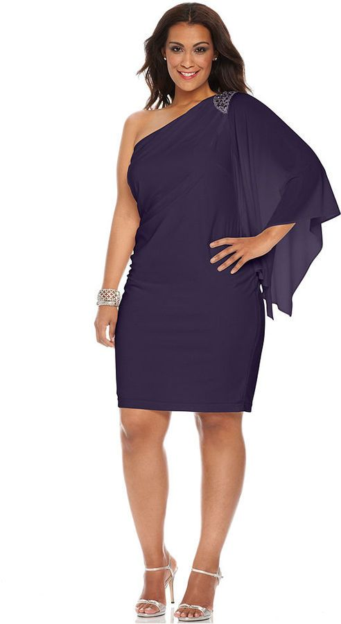 R M Richards Rm Richards Plus Size One Shoulder Beaded Dress On