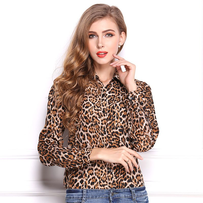 59f7cfef Click to Buy << Fashion 2016 Spring Summer Women Clothes Long Sleeve  Leopard Print Women Blouses Turn-down Collar Chiffon Blusas Femininas Shirt  #Affiliate