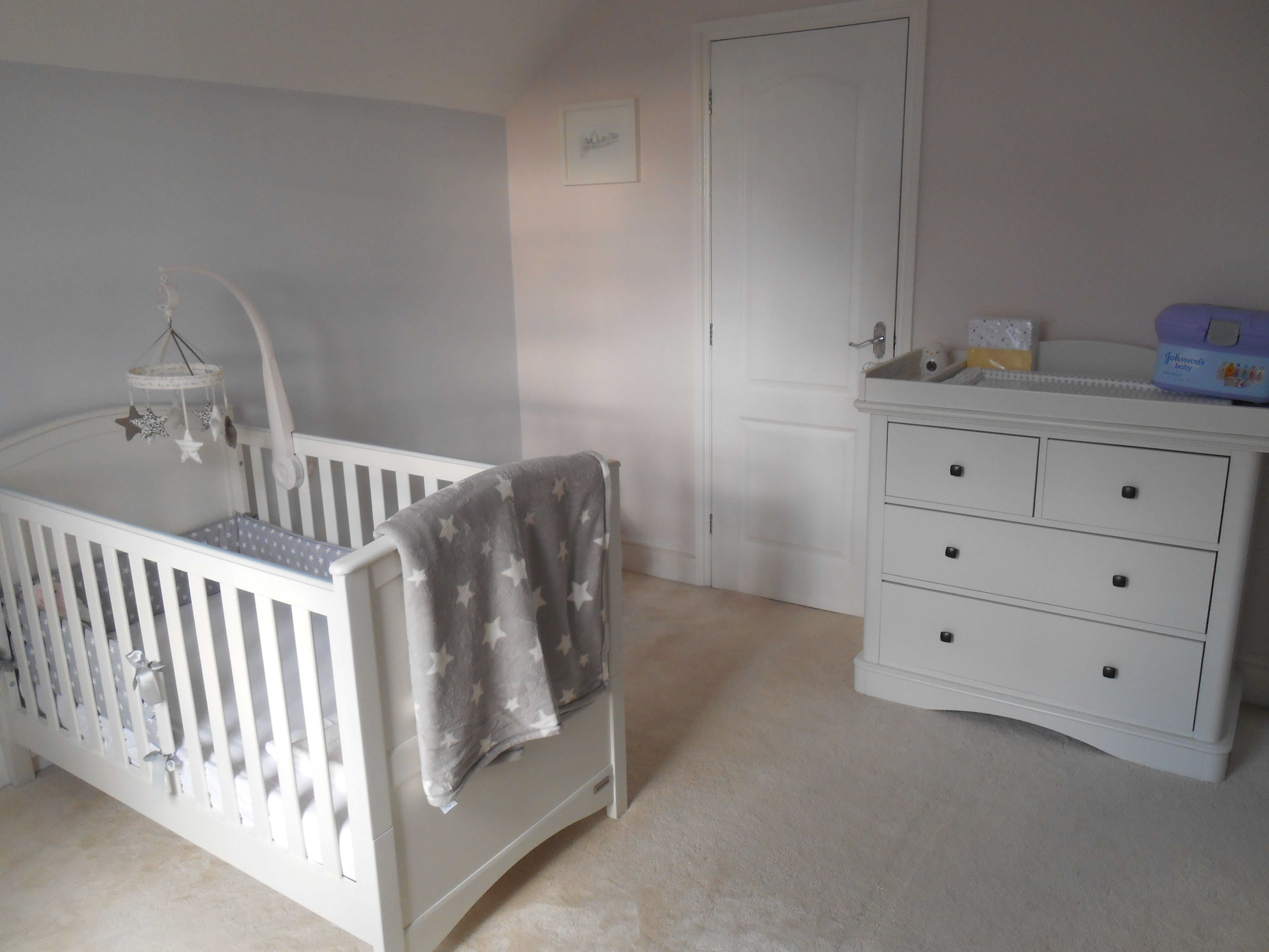 Pink & Grey Walls, Grey Star Theme, White Nursery Furniture
