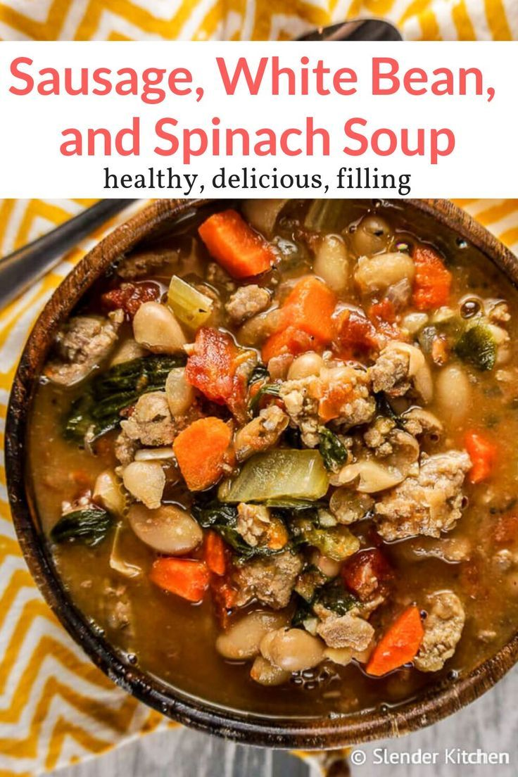 Sausage, White Bean, and Spinach Soup - Slender Kitchen #spinachsoup