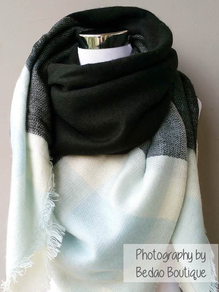 Blanket Scarf Square Check Baby Blue Black Fashion Pinterest