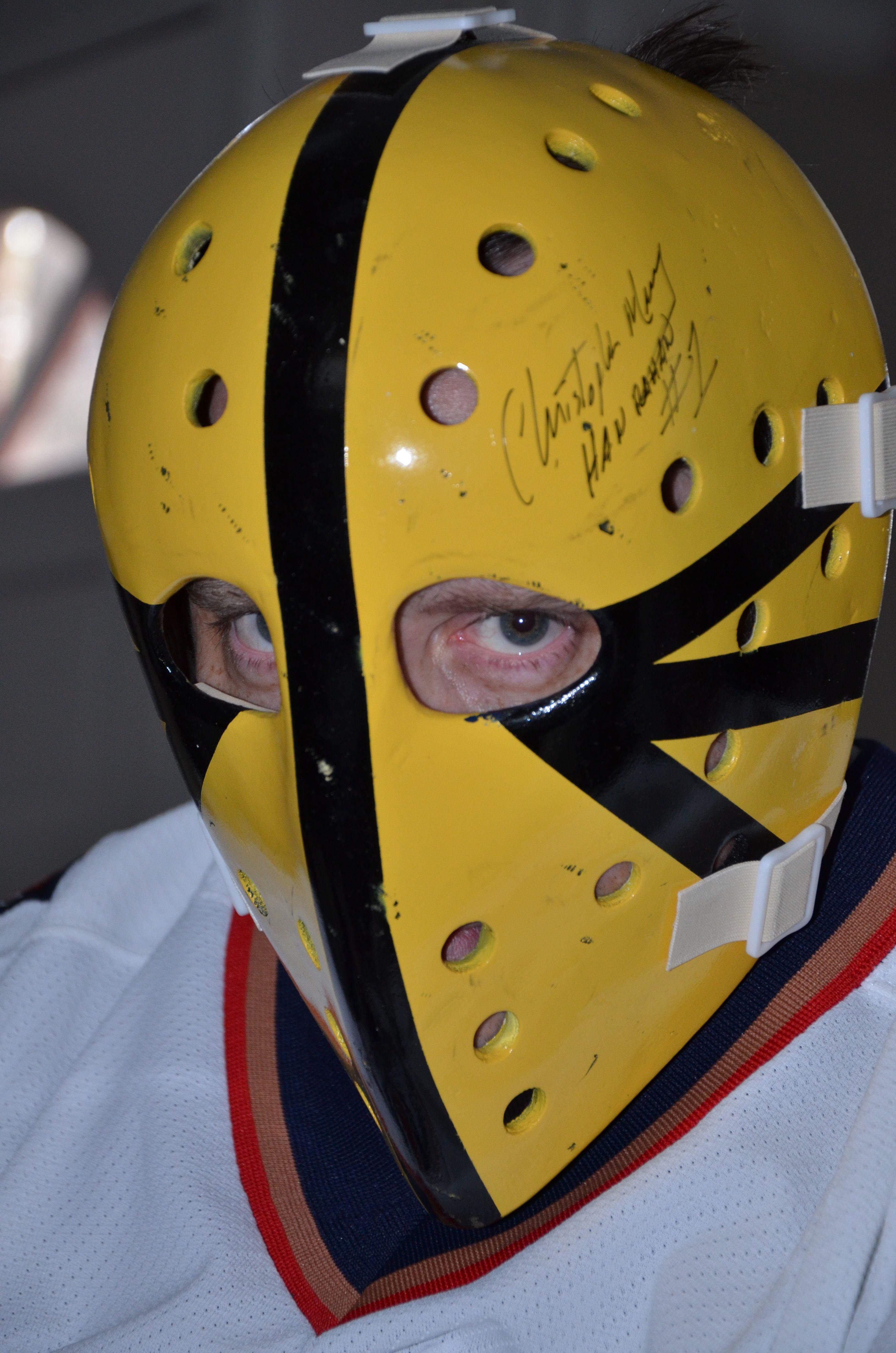 Hanrahan Goalie Mask Slap Shot 1977 Signed By Christopher Murney Hanrahan Goalie Mask Hockey Mask Nhl Hockey Players