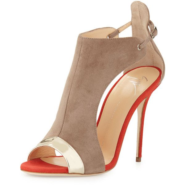 c3567d18bf9d Giuseppe Zanotti Two-Tone Suede Open-Toe Sandal ( 695) ❤ liked on Polyvore  featuring shoes